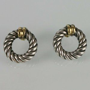 Jewelry - Two Tone Twisted Cable Earrings 925 18K ITALY 😍